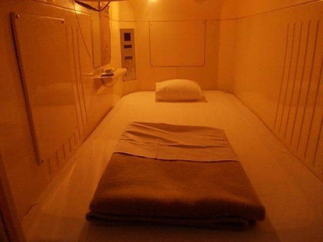 The bed inside the capsule