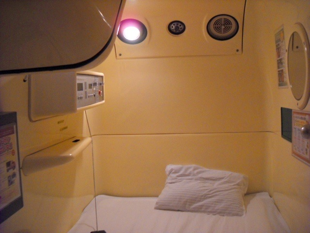 Inside the capsule hotel