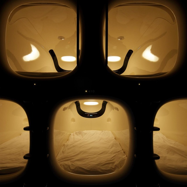 capsule hotel entrance