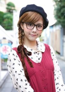Cute Harajuku girl with black glasses