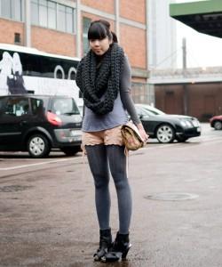 Japanese copenhagen street-style with grey knees sock