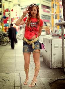 gyaru Japanese girls in denim jeans